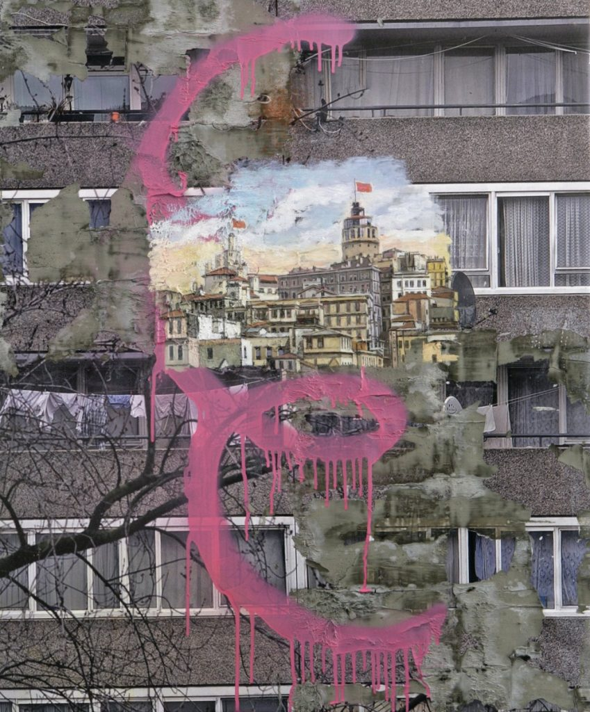 Constantinople by David Hepher, 2012. Oil, acrylic, inkjet and concrete on canvas. Flowers East.