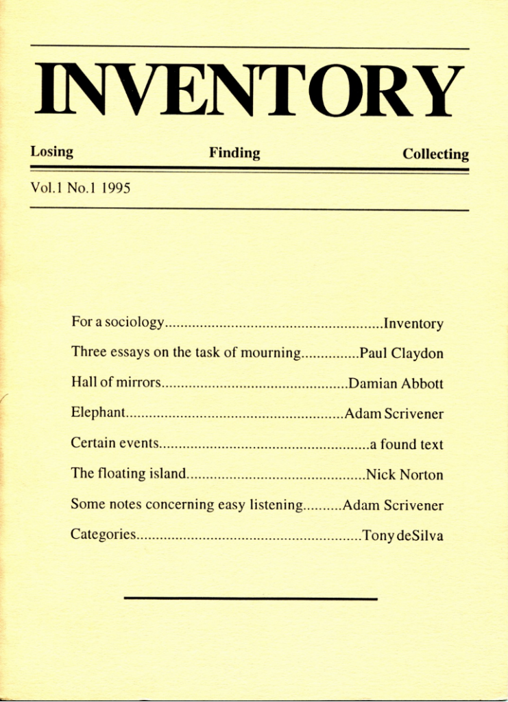Inventory. Vol.1. No.1. 1995. Deposited by Adam Scrivener and Paul Claydon at the MayDay Rooms. Image rights Inventory/MayDay Rooms.