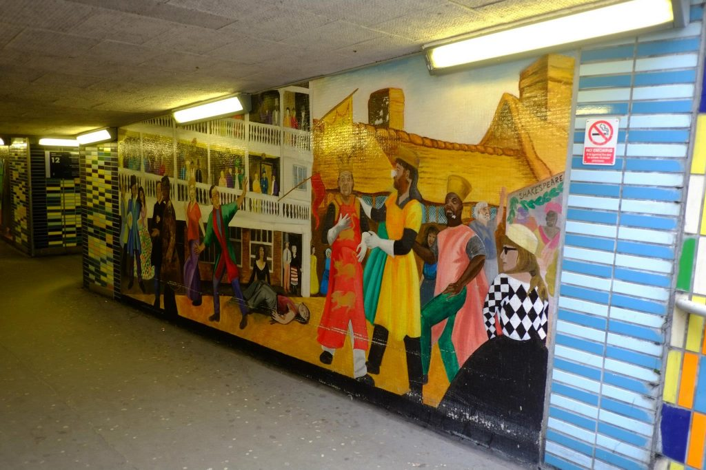 Mural of Shakespeare at The Globe located in the pedestrian underpass at London Road, North Side entrance.
