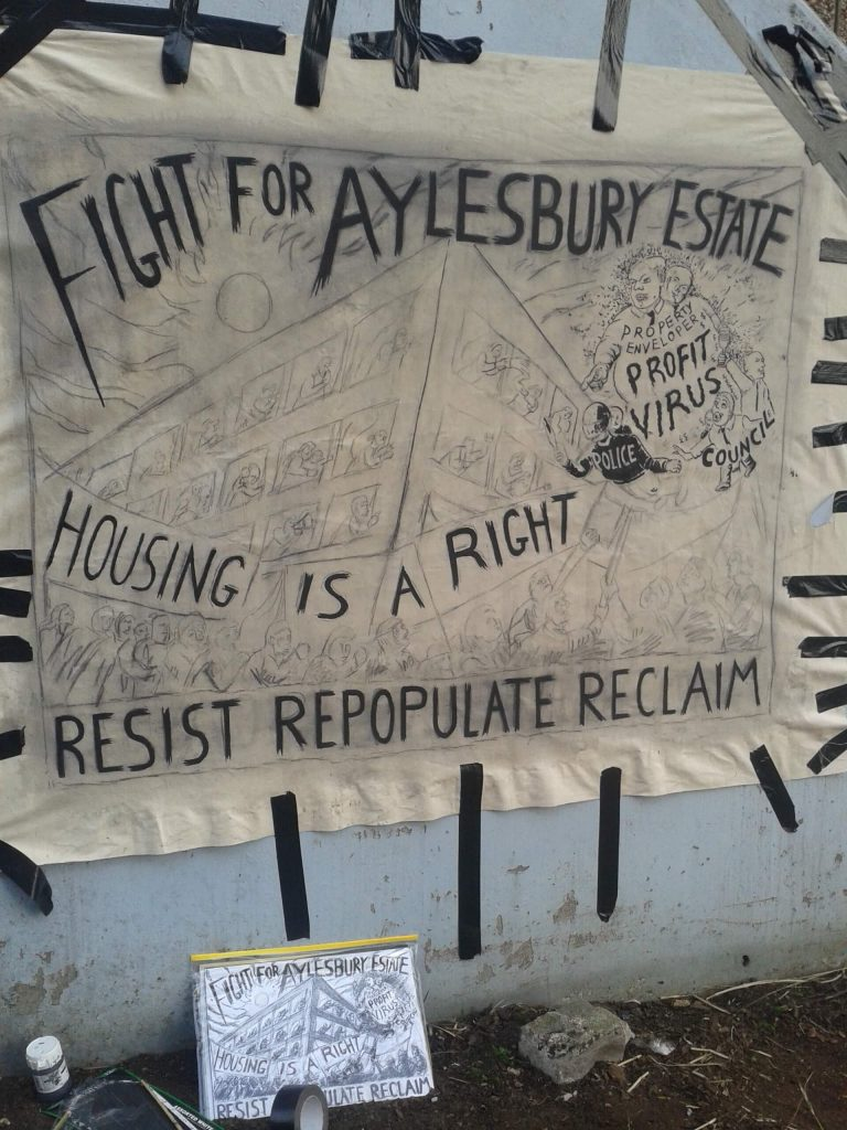 Banner, Housing is a Right, Fight For Aylesbury Estate, March 2015.